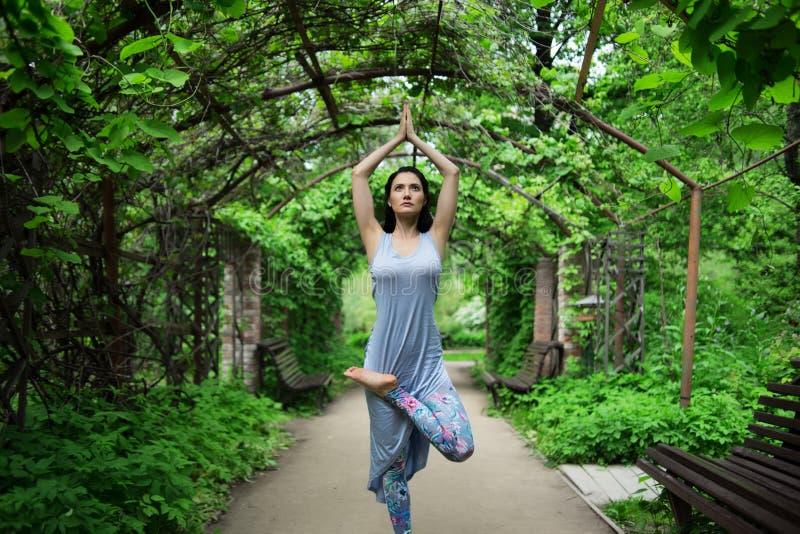 Femme faisant le youga en parc photographie stock