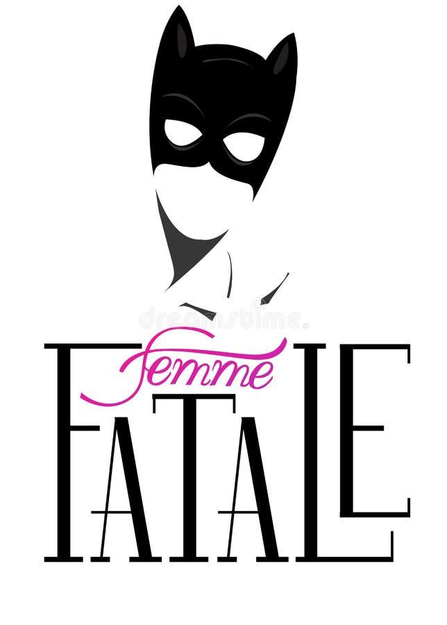 Femme fataleöverskrift och kontur av kvinnan i en maskering royaltyfri illustrationer
