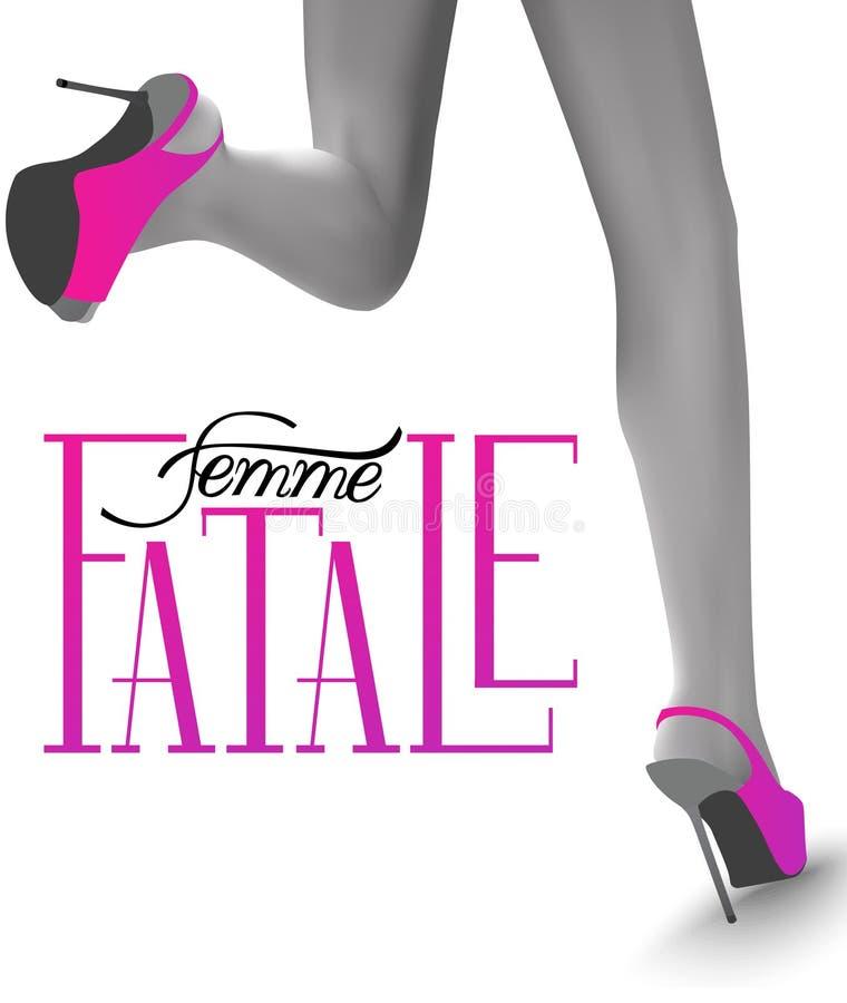 Femme fatale Έμβλημα με τα πόδια της τρέχοντας γυναίκας διανυσματική απεικόνιση