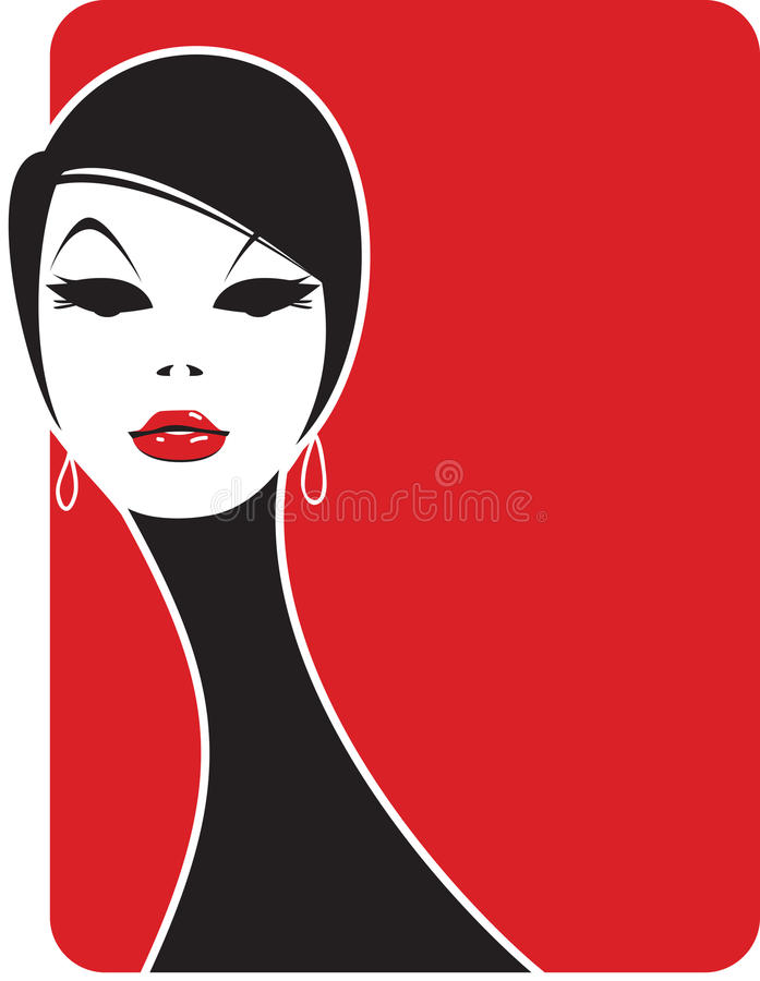 Femme fatale. Close-up portrait of a beautiful brunette vector illustration