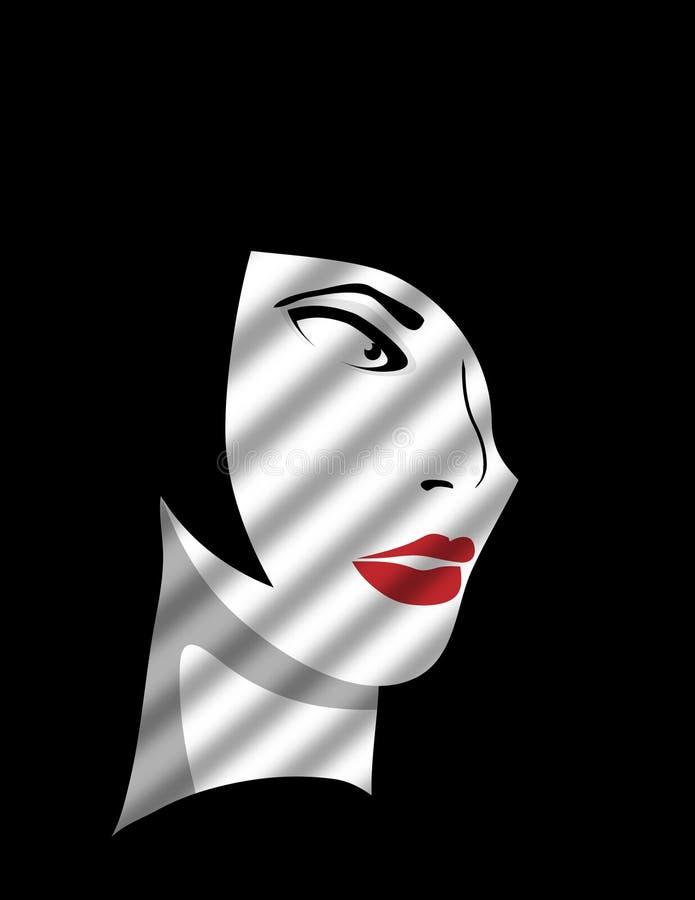 Femme Fatale Behind rullgardinerna vektor illustrationer