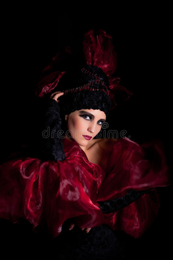 Download Femme Fatale In A Red-black Dress Stock Image - Image: 17532977