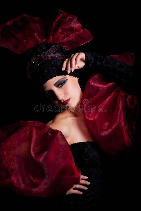 Download Femme Fatale In A Red-black Dress Stock Image - Image of portrait, queen: 17532985