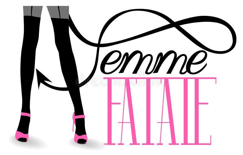 Femme fatalebokstäver med lång kvinnas svansen för jäklar för ben den långa vektor illustrationer