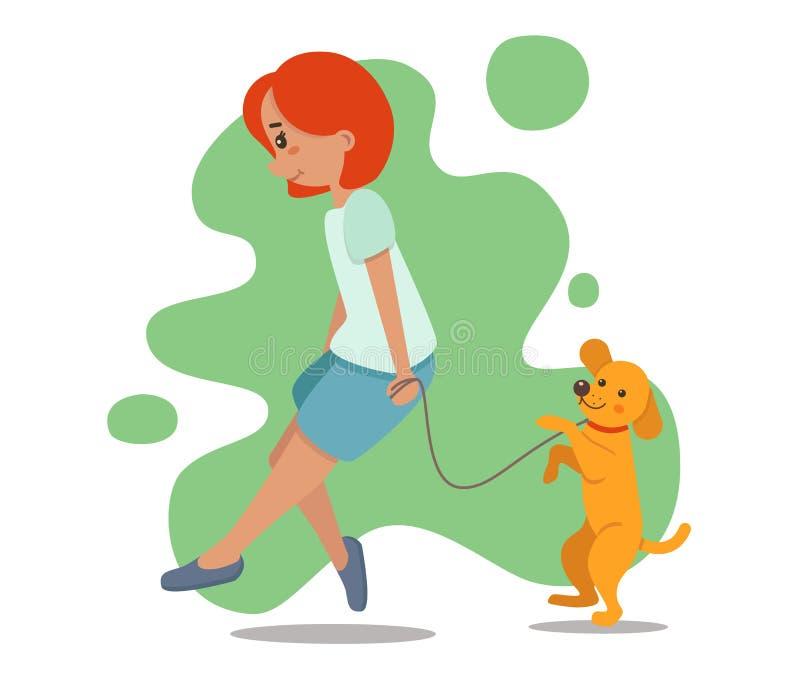 Femme, fille marchant avec le chien Chien d'arrêt, Labrador illustration stock
