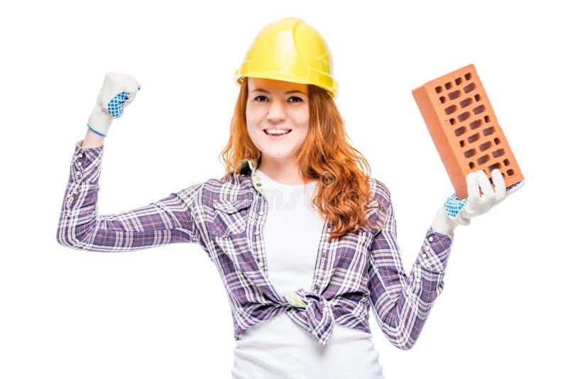 femme fragile de constructeur réussi, portrait sur le blanc photographie stock