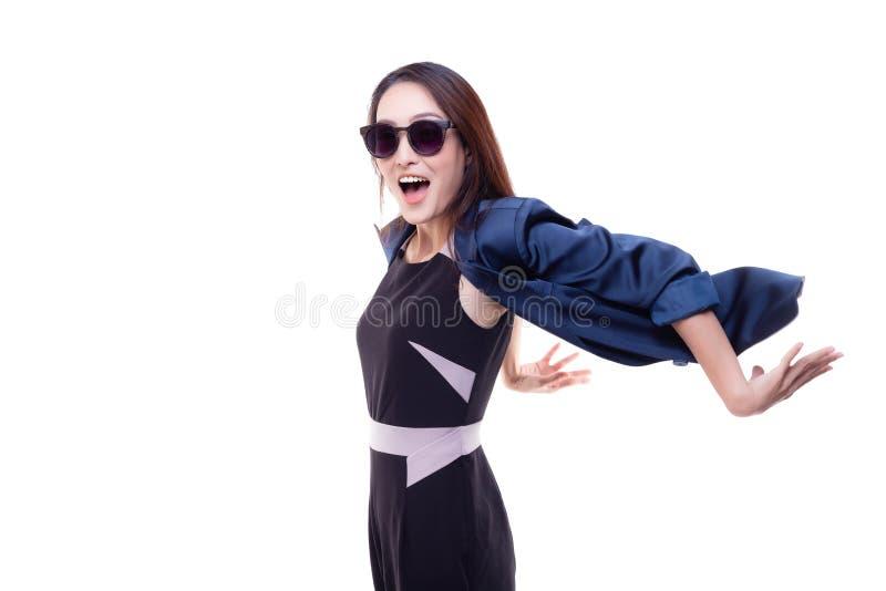Femme gaie d'affaires de portrait belle Beau y avec du charme photo stock