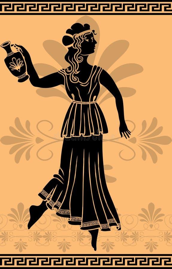 Femme grec avec le pochoir d'amphora illustration stock