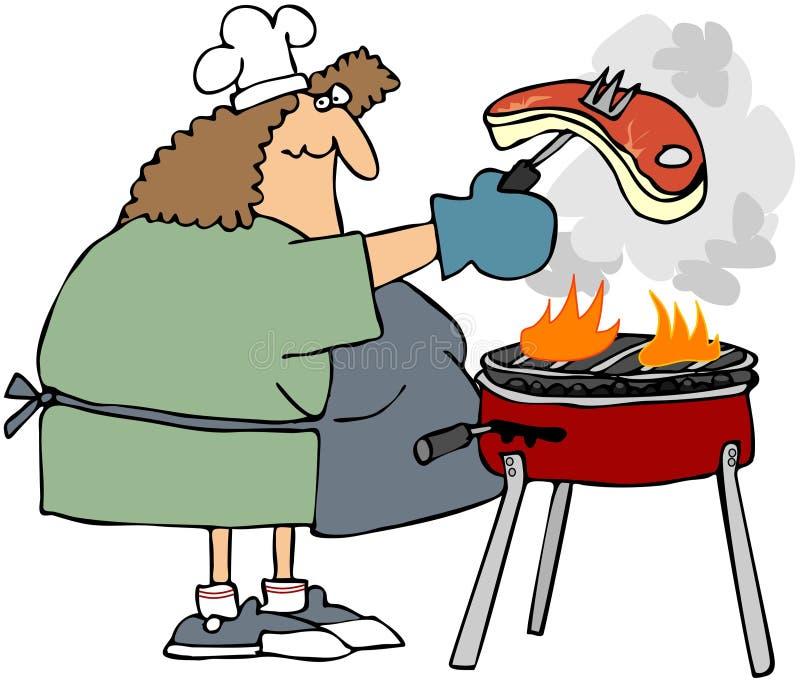 Femme grillant tout entier un bifteck illustration libre de droits