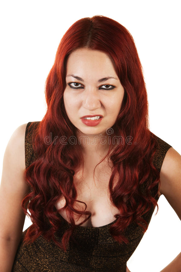 Femme grincheuse ricanant image stock