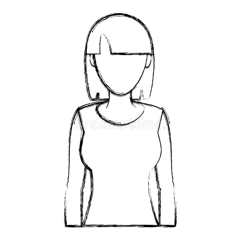 Femme grunge de beauté avec la coiffure et les longs cheveux illustration de vecteur