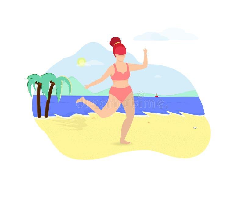 Femme habillée dans la danse de vêtements de bain sur la plage d'été illustration stock