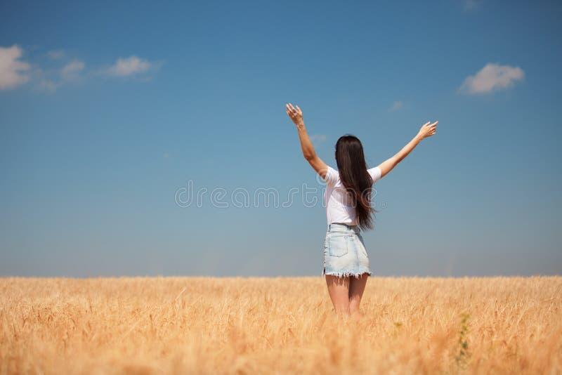 Femme heureuse appr?ciant la vie dans la beaut? de nature de champ, le ciel bleu et le domaine avec du bl? d'or Style de vie ext? photographie stock libre de droits