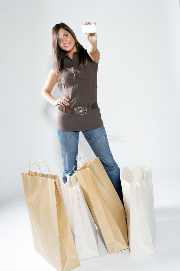 Femme heureuse d'achats. photos libres de droits