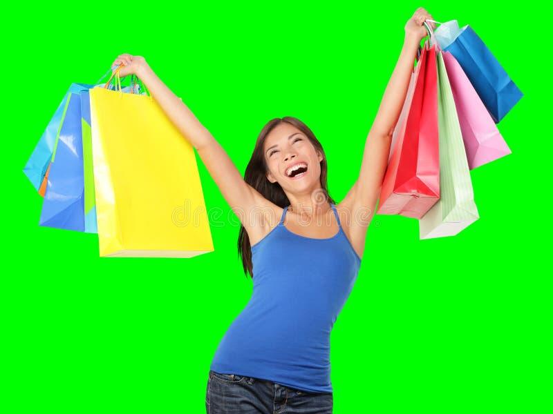 Femme heureuse d'achats photos libres de droits