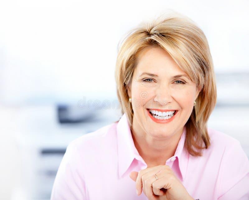 Femme heureuse d'affaires photographie stock libre de droits