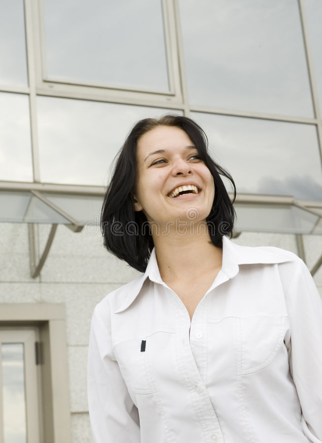 Femme heureuse d'affaires de verticale photo libre de droits