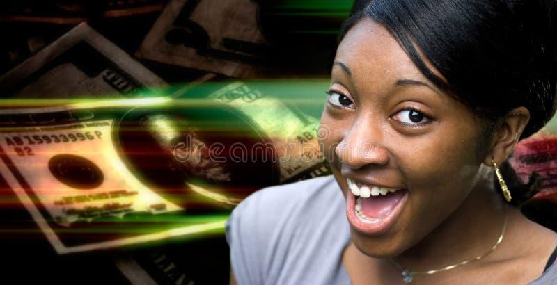 Femme heureuse d'argent photographie stock libre de droits