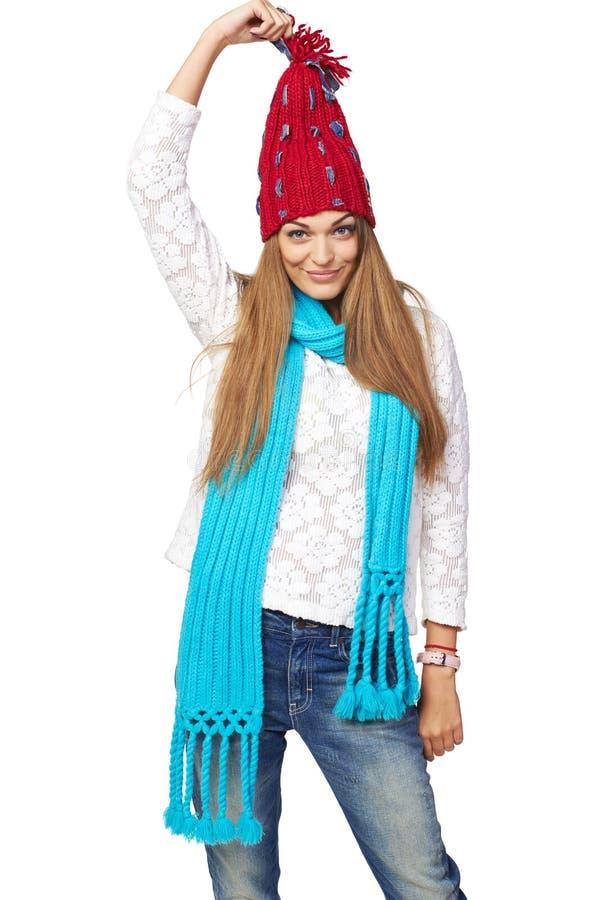 Femme heureuse dans l'habillement d'hiver photos stock