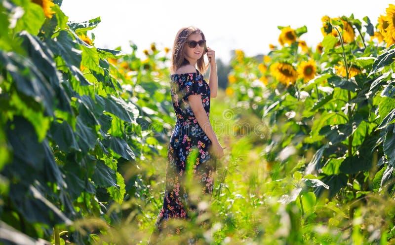 Femme heureuse dans un domaine des tournesols images stock