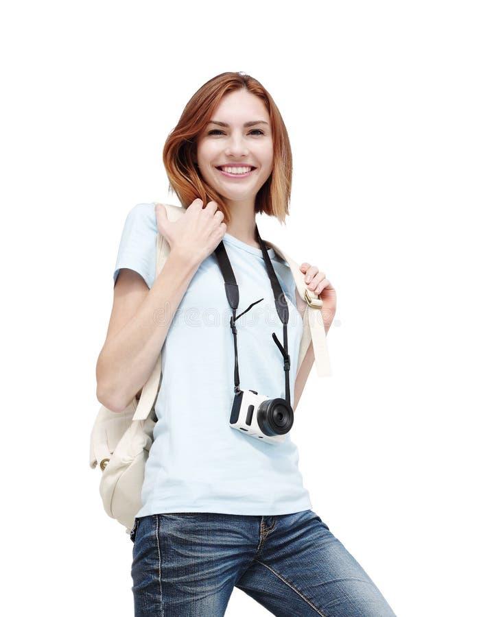 Femme heureuse de voyage images stock