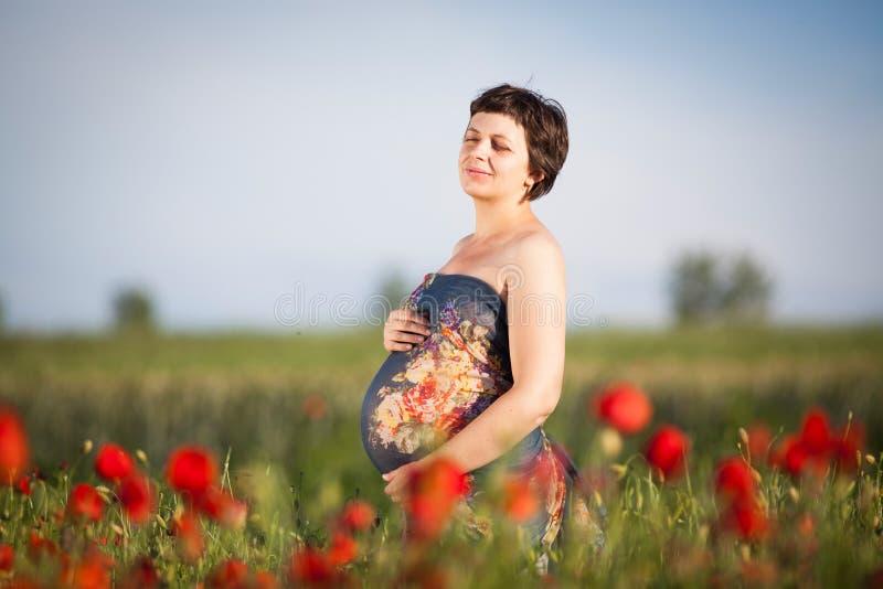 Femme heureuse enceinte dans un domaine fleurissant de pavot photographie stock libre de droits