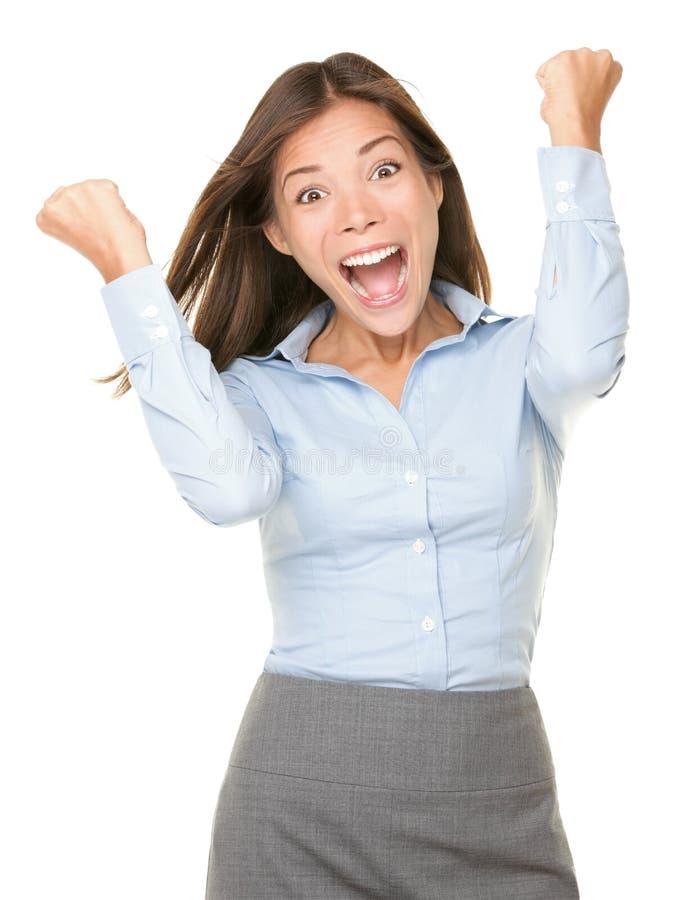 Femme heureuse encourageante d'affaires image libre de droits