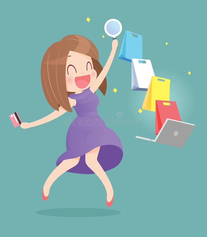 Femme heureuse faisant des achats en ligne illustration de vecteur
