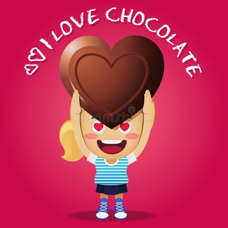 Femme heureuse portant le grand chocolat illustration libre de droits