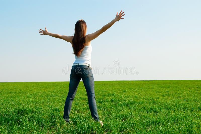 femme heureuse verte de zone images libres de droits