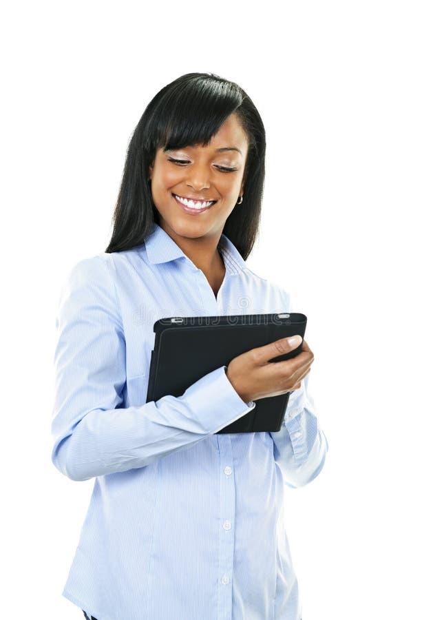 Femme heureux avec l'ordinateur de tablette images libres de droits