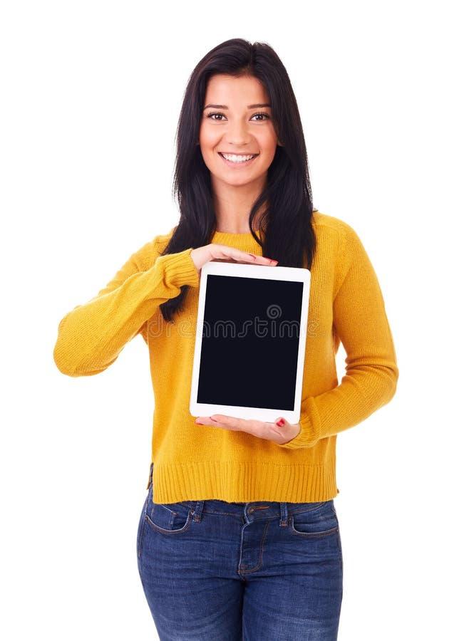 Femme heureux avec l'ordinateur de tablette photos stock