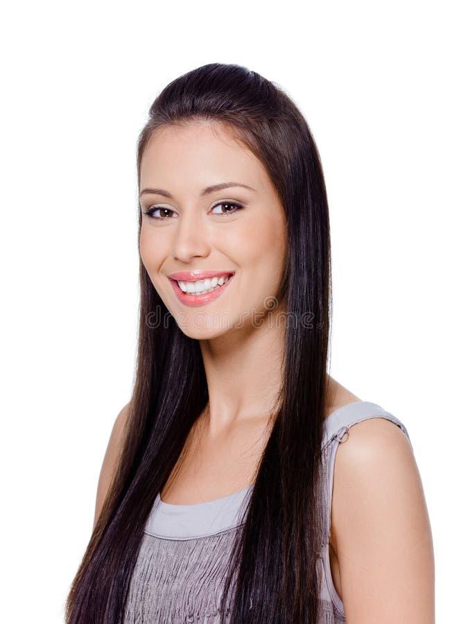 Femme heureux avec le long cheveu droit images libres de droits