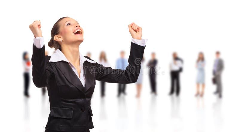 Femme heureux d'affaires sur photographie stock libre de droits