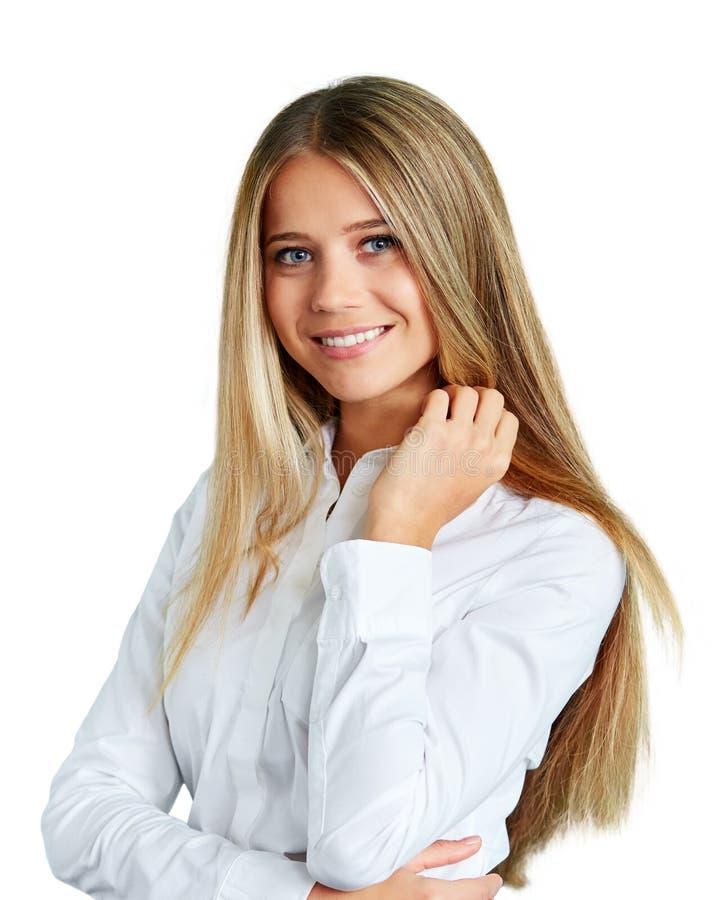 Femme heureux d'isolement sur le fond blanc image libre de droits