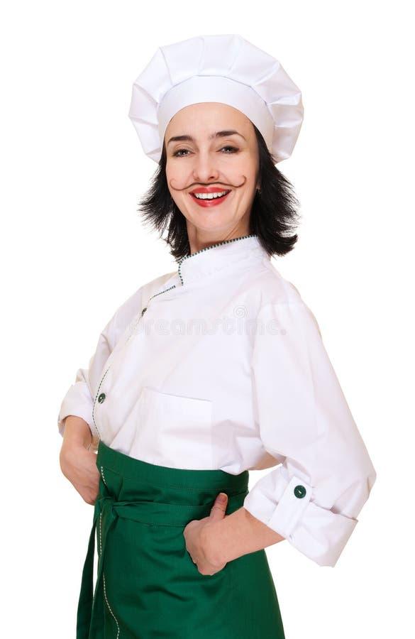 Femme heureux dans le costume du chef image stock