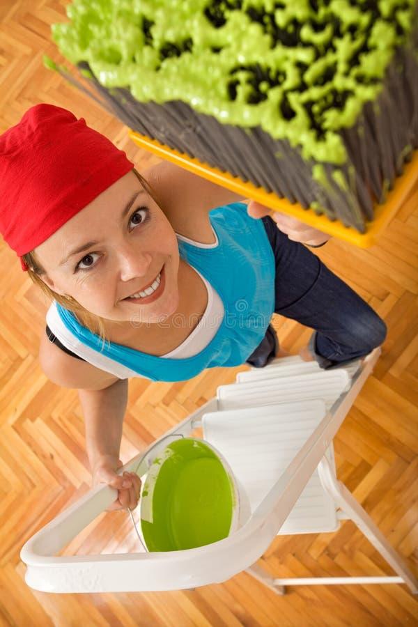 femme heureux de peinture de plafond de balai grand image libre de droits