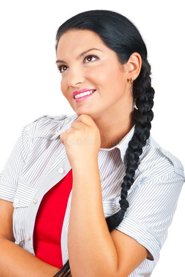 Femme heureux rêvant avec les yeux ouverts photos stock