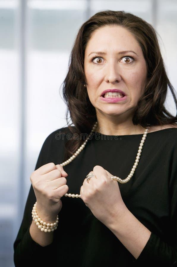 Femme hispanique frustrante photographie stock