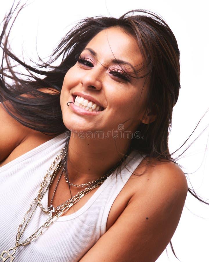 Femme hispanique heureuse image libre de droits