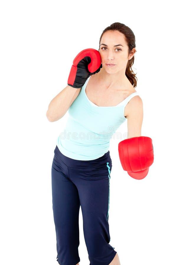 femme hispanique sportif avec des gants de boxe photo. Black Bedroom Furniture Sets. Home Design Ideas
