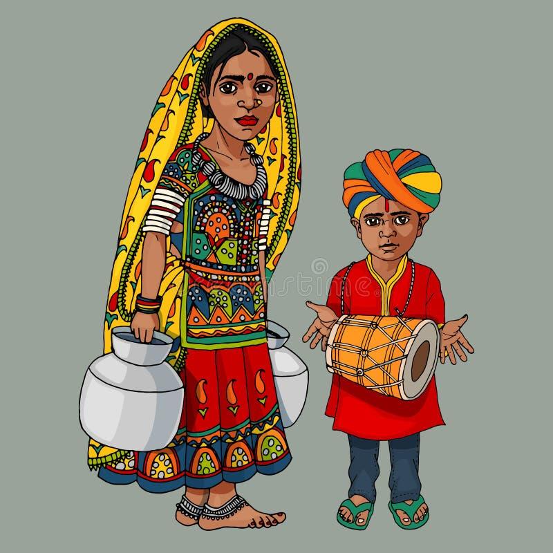 Femme indienne avec les pots et le garçon de l'eau jouant le tabla illustration de vecteur