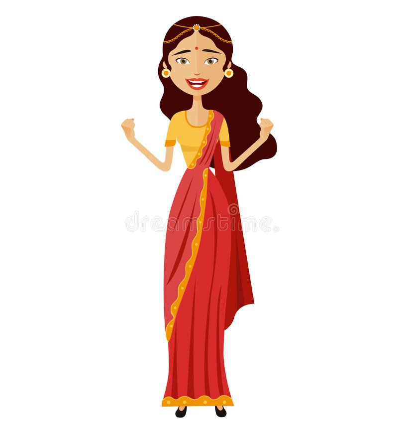 Femme indienne d'admiration heureuse jetant son vecteur de mains d'isolement illustration de vecteur