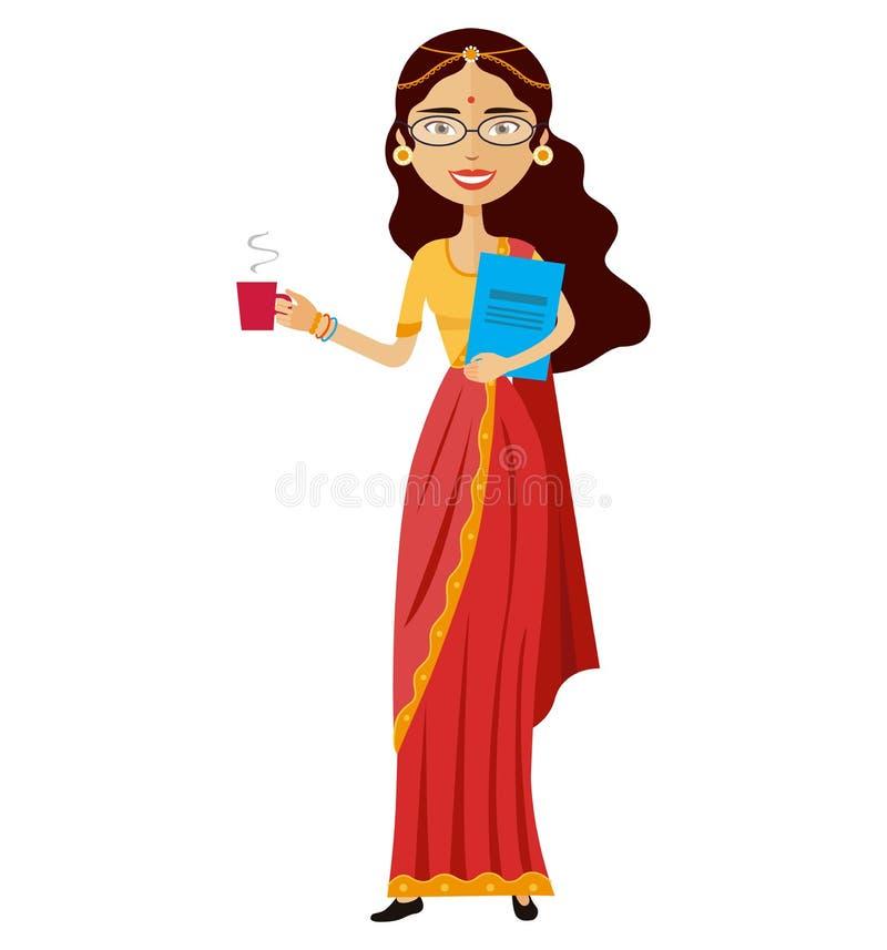 Femme indienne d'affaires avec une tasse de l'illustration plate de bande dessinée de vecteur de thé d'isolement illustration stock