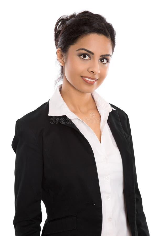 Femme indienne heureuse réussie d'isolement d'affaires au-dessus de blanc photos libres de droits