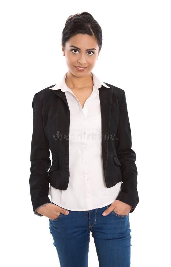 Femme indienne heureuse réussie d'isolement d'affaires au-dessus de blanc photo stock