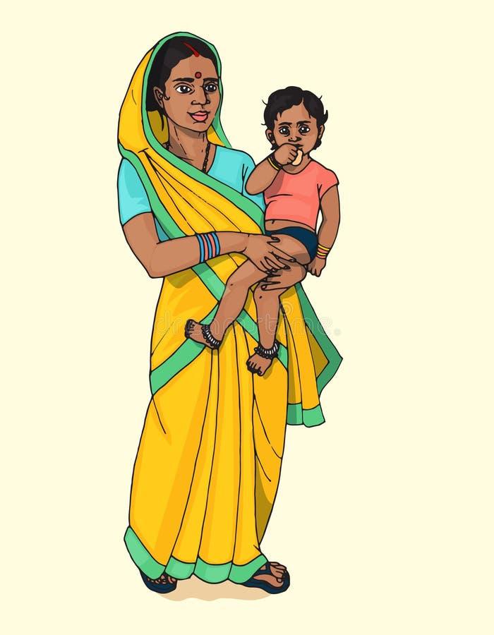 Femme indienne tenant le bébé illustration de vecteur