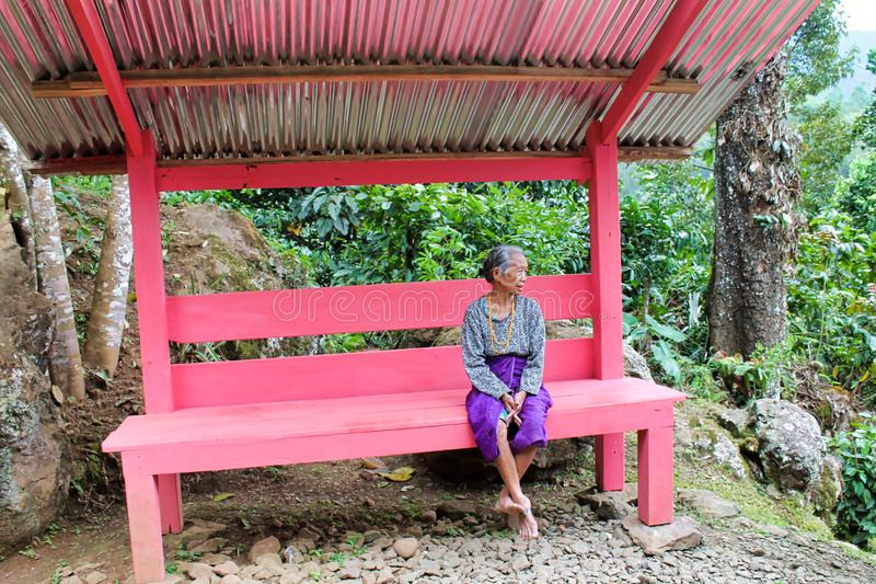 Femme indonésienne pluse âgé s'asseyant sur un banc rose images stock