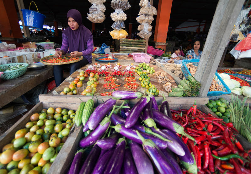 Femme indonésienne vendant des légumes sur le marché chez Timika. photos libres de droits