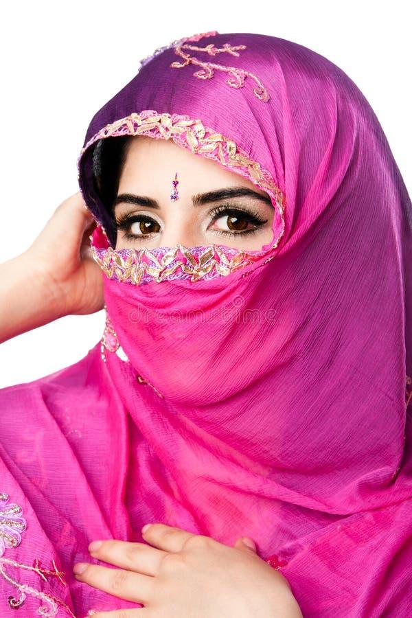 Femme indou indien avec le foulard photo libre de droits